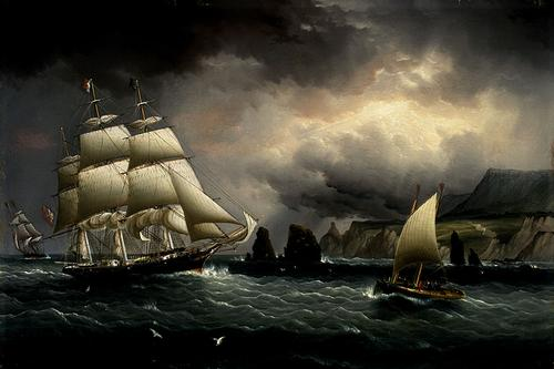 "The Clipper Ship ""Flying Cloud"" off the Needles, Isle of Wight John Buttersworth, 1859-1860. oil on panel, 12 x 18 in Memorial Art Gallery, U. of Rochester, N.Y photo in public domain from Wikipedia.org"