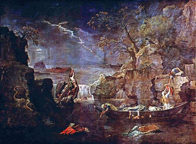 Winter (also called The Flood) Nicolas Poussin, ~1660-1664 oil on canvas, 47 x 63 in The Louvre color adjusted photo public domain from the Yorck Project via Wikimedia Commons